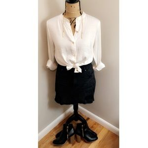 Michael Kors Silky White Blouse w/ Gold Buttons